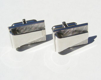 Vintage Abstract Silver Tone Metal Cufflinks - Deco, Mid Century - Cufflink, Cuff Links