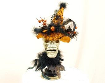 Skull Centerpiece * Skull Decor * Halloween Decoration * Skull with Witch Hat * Halloween Mantel * Halloween Decor * Witch Hat  * Skull