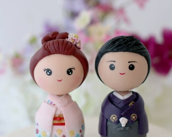Japanese kokeshi wedding cake topper figurines