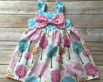 Boutique Girls bow knot dress, size 6mos-8, girls spring dress, baby dress