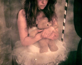 circus, teddy bear, tutu, holga, film, plastic camera, painting, big eyes, analog 4x5, 8x10, 11x14