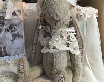 """sewing pattern pdf e-pattern for handmade viscose Mohair artist teddy bear 18cm 7"""" french style bunny vintage style"""