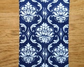 Mini Tissue Cases - Damask - Navy - White
