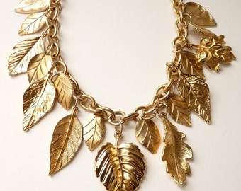 Vintage Gold Chain Necklace with Leaf Charms 18 Inches