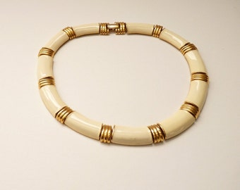 Vintage Napier  Choker Necklace with Cream Enamel and Gold Accents