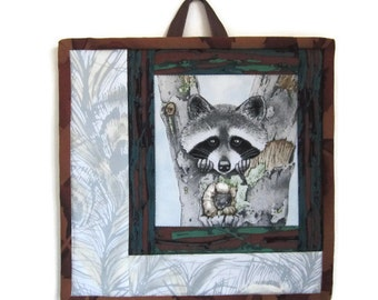 """Quilted Mini Wallhanging """"Mama Raccoon"""" Wall Hanging mini quilt, Quiltsy Handmade"""