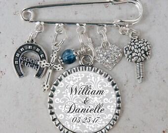 Bouquet Charm, Personalized Wedding Charm, Brooch Pin, Bridal Charm, Garter Pin, Something Blue Charm