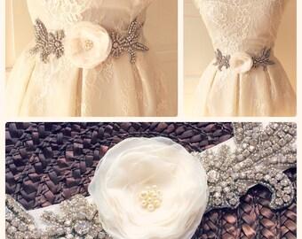 Romantic  Bridal Satin and Chiffon  Belt Flower Sash for Wedding. Rhinestone applique