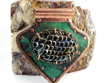 DRAGON SCALES Verdigris Copper & Brass Riveted Metalwork Pendant with Raku Pottery Cabochon, City Hall Relics Collection, P0051