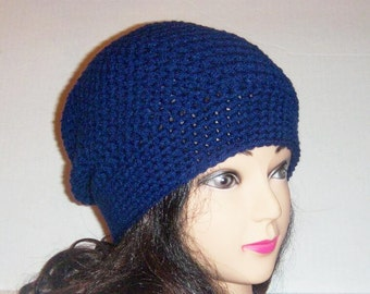 Navy Blue Crochet Slouchy Beanie Hat, Slouchie Hat