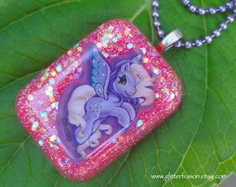 My Little Pony Purple Pegasus Hot Pink Resin Pendant, Neon Pink & Purple Kawaii Pony Iridescent Glitter Necklace, 90's Candy Raver Pendant