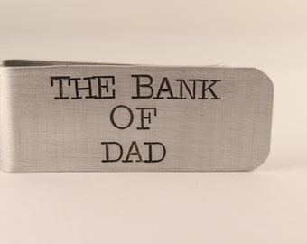 The Bank of Dad - Custom, Hand Stamped Money Clip - Great father of the bride / groomsman / usher / dad gift