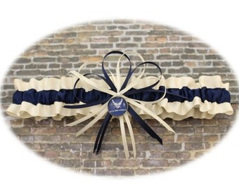 Ivory and Navy Blue Satin Air Force Wedding Toss Garter