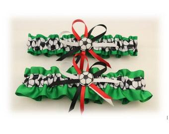 Green Wedding Garter with Soccer Deco, Bridal Garter, Prom Garter, Soccer Garter  (Your Choice, Single or Set)