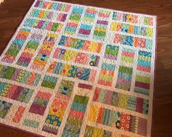 Dreamin Vintage Quilt Lap Crib in Pink, aqua, green, orange, purple, white