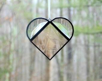 Stained glass heart, heart suncatcher, light peach, hanging heart, heart ornament, light catcher, gift under 15, small heart, sun catcher