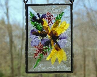 Stained glass suncatcher, pressed flower suncatcher, garden flowers, everlasting flower gift for her, Viola flowers, gift under 30