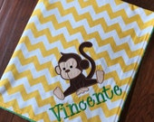 Personalized Baby Blanket- Monkey Baby Blanket- Minky Baby Blanket- Chevron Minky Blanket- Jungle Animal Nursery