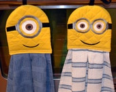 Minion Hanging Towel, Embroidered, Hangs on Stove, Refrigerator, Cabinets, Choice of Dish Towel Color and Number of Eyes