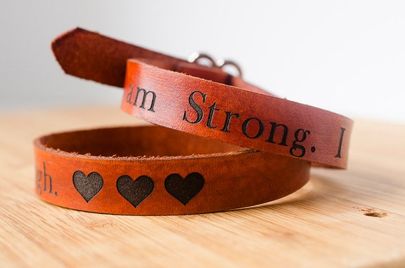 I Am Strong I am Beautiful I am Enough Wide Adjustable Leather Single Wrap Bracelet with Custom Text