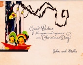 Vintage Christmas Card Art Deco Carolers 1930's