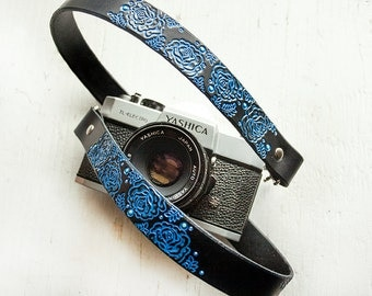 Custom Leather Camera Strap - Blue Roses - Personalized Floral Leather - Handmade & Handpainted - Camera Straps Made to Order by Mesa Dreams