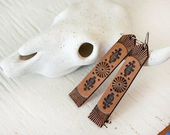 Paisley Leather Earrings - Long Tooled Chocolate Leather - Southwestern Hippie Boho inspired jewelry - Made to Order