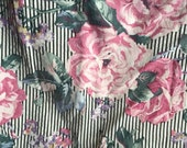 Vintage Floral Rose Stripe Black & White Fabric Yardage Destash