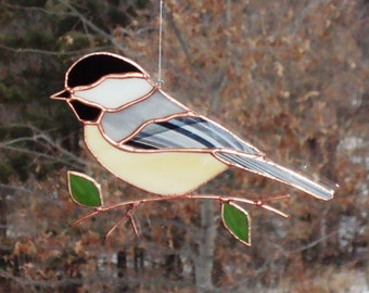 Chickadee - Large Stained Glass Bird Suncatcher 122815