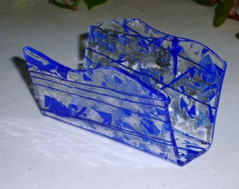 Fused Glass Business Card Holder -  Blues 40416