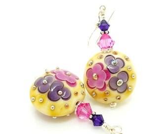Pink Purple Earrings, Colorful Earrings, Lampwork Earrings, Glass Bead Earrings, Glass Art Earrings, Unique Earrings, Floral Earrings