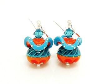 Turquoise Blue Orange Earrings, Ruffle Earrings, Fun Earrings, Lampwork Earrings, Glass Earrings, Beadwork Earrings, Southwestern Earrings