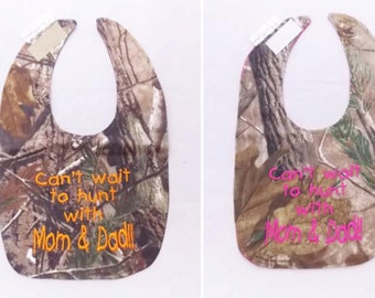 Cant Wait To Hunt With Mom and Dad!! - Small Baby Bib - Orange OR Hot Pink