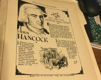 Book page print . John Hancock his pen was mightier than a sword. 7 x11 Great for framing for the collector. History.