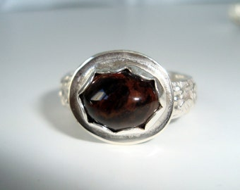 Sterling Silver Ring, Jasper Gemstone, Sterling Ring Band, Silver Bezel, Size 7, Silver Ring, Gemstone Ring, Gift