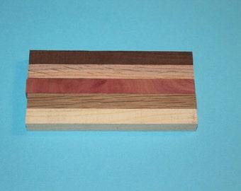 """5 Assorted Pen Blanks for Sale, Cedar, Red Oak, White Oak, Walnut, Hackberry, 1/2"""" square, D147"""