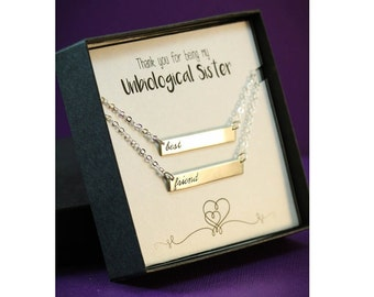 SALE - Unbiological Sister Gift - Best Friend Necklaces - Silver Bar Necklace - Girlfriend Gift - Christmas ideas - Xmas presents