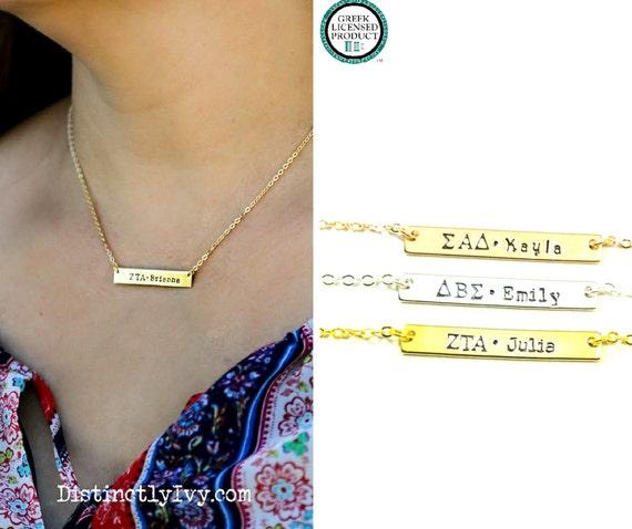 Greek jewelry greek necklace sorority letter bar necklace for Sorority necklaces letters
