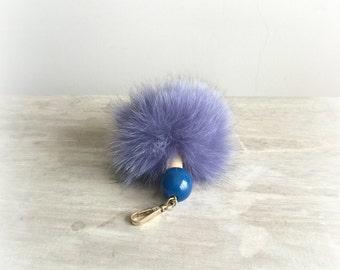 Beaded Fur Pompoms, Pompom Keychain, Fur Pompom Keychain