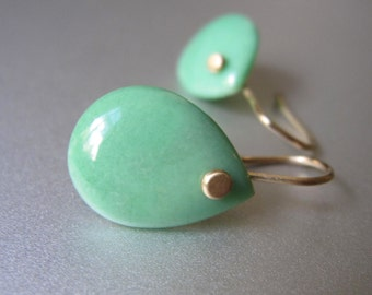 Variscite Drops Solid 14k Gold Earrings