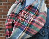 Zara Tartan Plaid Infinity Scarf in Soft Flannel Trending Flannel Infinity Scarf 2016 Scarf Style Holiday Gift Khaki Plaid Scarf