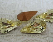 13x8 Pear Swarovski Rhinestone Jonquil Light Yellow Teardrop Shape Qty 4