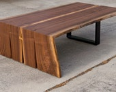 Reserved for: Lauren .Walnut Coffee Table Folded Bole Steel Base
