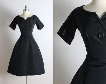 Vintage 50s dress   Harvey Berin 50s dress   black silk taffeta dress xs/s   5737
