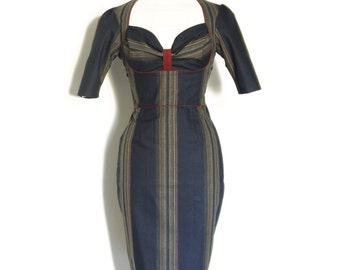 UK Size 12 Navy and Burgundy Stripe Cotton Bustier Pencil Dress - Made by Dig For Victory