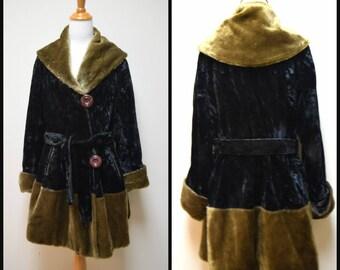 Antique 1910s Victorian Steampunk Black Crushed Velvet Stroller Coat Mohair Trim
