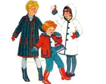 80s Kids Coat Pattern Style 3467 Hooded Reversible Lined Coat Vintage Sewing Pattern Size 5 chest 24 inches