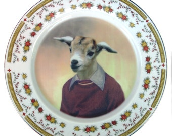 Billy Goat Portrait Plate - Altered Vintage Plate 10.35""