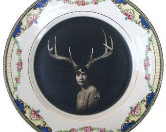 "Deer Liza - Altered Vintage Plate 7"""