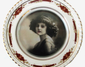 Lilith the Vampire Girl Portrait - Altered Antique Plate 6.25""